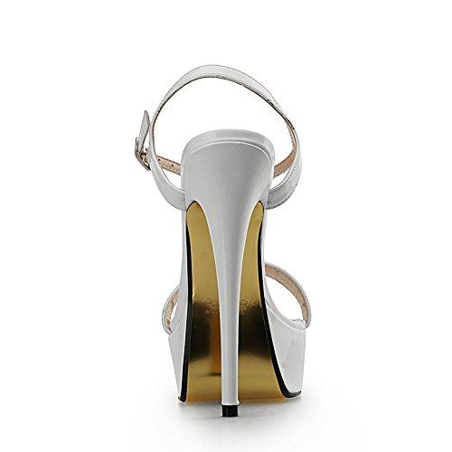 Hebilla 41 Metal Sexy Hueco Mujer 31 Zapatos Fiesta Tacón De 16CM Tacón DGZY Moda Baile Plataforma White Alto KJJDE Sandalias Alta Stiletto De De Super xqzTwC0wS