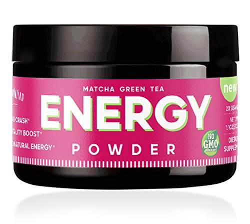 Energy Powder - Natural Caffeine Enhanced Tea Energy Boost - Focus & Brain Formula - Nootropic - No Crash & No Sugar (20 Servings) Matcha Green Tea, Guarana, L-Theanine, Eleuthero Root - 0 Calories (Bohemian Revolution)