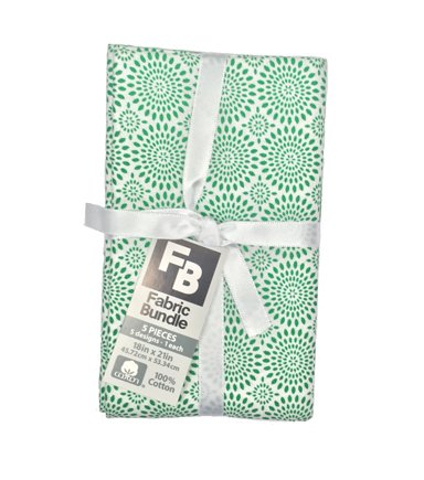Fat Quarter Bundle Cotton Fabric 5 FAT QUARTER Pack 18''-Assorted Patterns On Green
