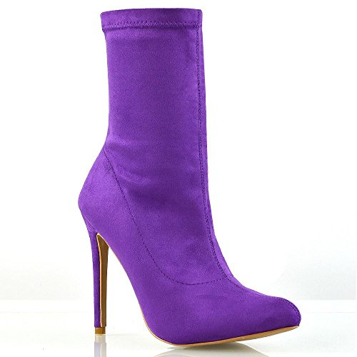 ESSEX GLAM Womens High Stiletto Heel Purple Faux Suede Pointed Toe Ankle Boots 6 B(M) (Purple Suede Booties)