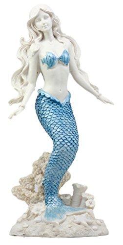 "Atlantic Collectibles Aqua Blue Tailed Ocean Mermaid Figurine 11.75"" H Aquamarine Goddess Standing On Coral Reef Decorative Statue"