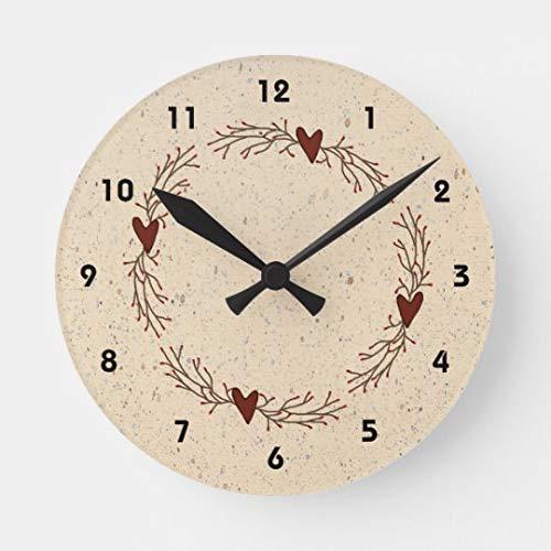 Pip Berry Hearts Decorative Wall Clock for Women Men Teen Girls Boys Silent Wood Clock 14 Inches (Clock Wall Heart)