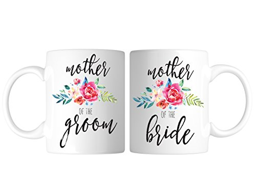 Mother Of The Bride Groom (Mother of the Groom and Bride Coffee Mug Set Flower Design Personalized Bride and Groom to Be Gift Bondi Boutique)