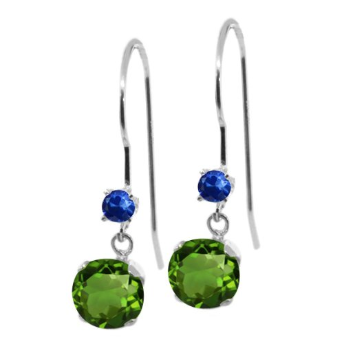 14k White Gold Green Sapphire - 1.16 Ct Round Green Chrome Diopside Blue Sapphire 14K White Gold Earrings