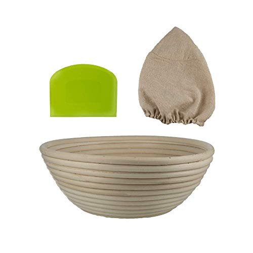 - Sourdough Proofing Basket Set by Luxurie Kitchen - 9 Inch Banneton Bread Bowl with Plastic Scraper and Cloth Liner Cover - Made from Natural Wicker - Perfect for Making Fresh Homemade Artisan Recipes