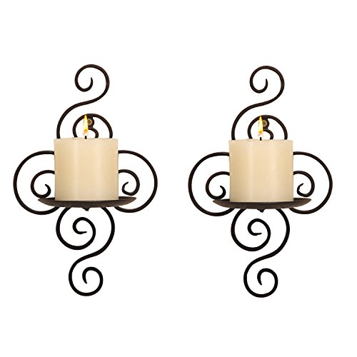(ELEGAN Black Iron Swirling Wall Candle Holder Sconce (Set of 2))
