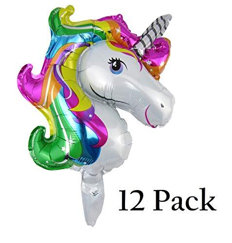 JPACO 12 PCS 3D Unicorn Foil Balloons  Medium 17 inch Size for Kids, Little Girls, Children