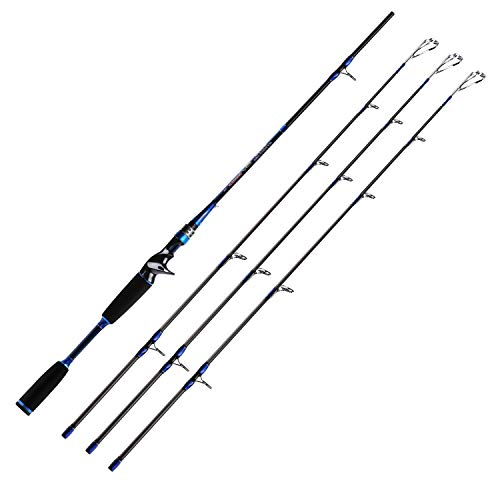 (SANLIKE Lightweight Bass Fishing Rod - Portable Carbon Fiber Lure Rod Baitcasting Fishing Rod for Saltwater Freshwater Travel and Boat Fishing with Different Sensitivities, Spinning Rod/Casting Rod)