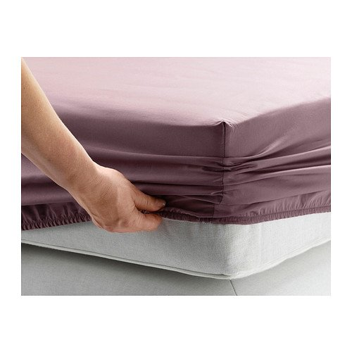 Ikea Gaspa Queen Fitted Sheet Dark Lilac 100 Cotton