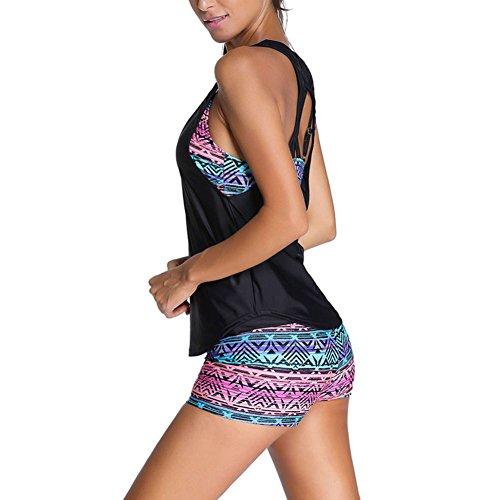 Juleya Traje De Baño Cintas Hombros Sobre Mujer Tankinis Bañador Tres Piezas Bikini Top Short Chaleco Sport Yoga Beach C1