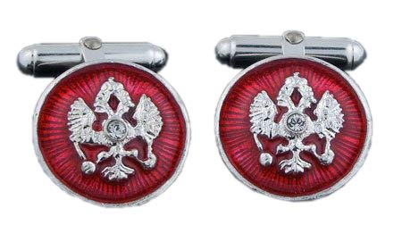 Religious Gifts Russian Red Cuff Links Double Headed Eagle Sterling Silver Enameled