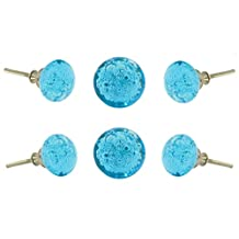 Set of 12 Glass Jones Bead Turquoise Drawer Knobs with Silver Chrome Finish Hardware Kitchen Cabinet Dresser Pull