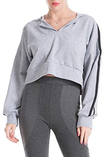 Gris Sweats Femmes T Capuche Court shirt À En Vrac CRCqwz1