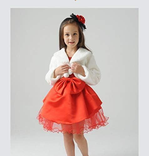 APXPF Flower Girl White Faux Fur Stole Shawl Wraps Cape Kids First Communion