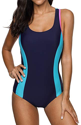 beautyin Womens Athletic Swimwear One Piece Swimsuit Color Block Bathing Suit Navy-blue
