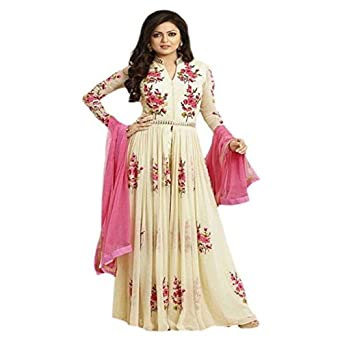 dd8a838434 Kesariya Creation Women's Georgette Unstitched Dress Material (Cream Jalwa  Gown_Cream_Free Size): Amazon.in: Clothing & Accessories