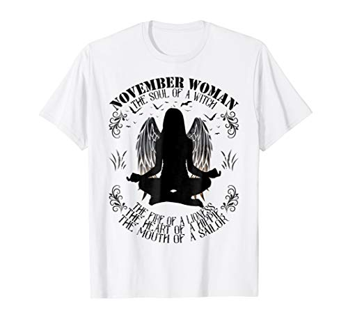November Woman The Soul Of A Witch T-shirt Witch angel yoga -