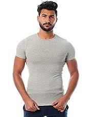 Round-Neck Short Sleeve Solid Undershirt for Men