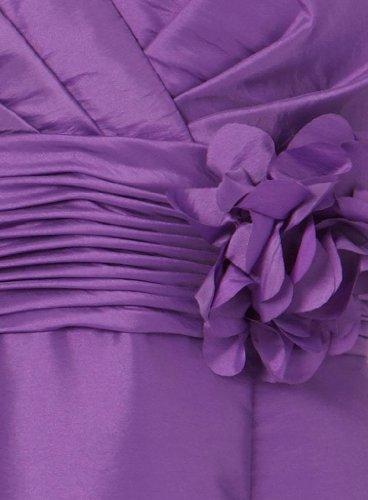 Ausschnitt Kurze BRIDE Schoene mit GEORGE Taft Teil Blumen made Abendkleid Strap Hand V Kleid Lila mit q0Xxxt