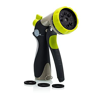 Garden Hose Nozzle - Hand Sprayer - 8 Pattern Adjustable, Heavy Duty Metal Construction - Slip Resistant - With 3 Washer