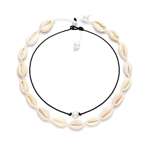 BSJELL Women's Natural Shell Necklace Choker Set Handmade Pearls Cowries Pendant Necklace Waikiki Beach Choker Adjustable for Girls Ladies