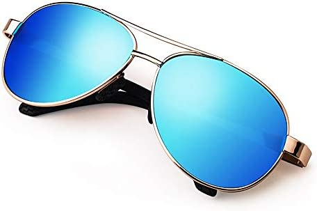 CDKET ビッグボックスミリタリースタイルクラシックアビエイターサングラス、メンズ高精細偏光メガネドライバードライビングメガネ、UVプロテクション CDKET (Style : スカイブルー)
