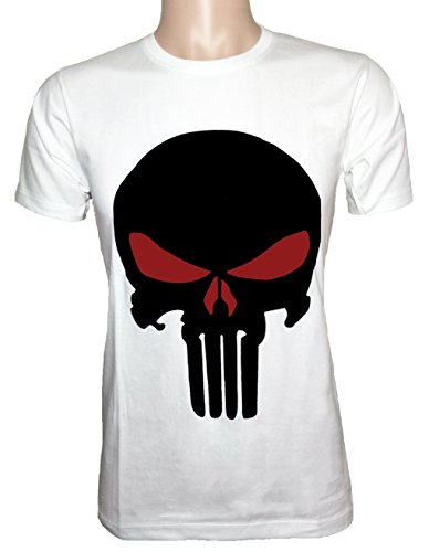 Ranger Return Men's The Skull T Shirt Tee Costume - White and Red (X-Large)