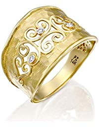6602ba09e Paz Creations 14k Gold Filigree Diamond Accent Ring with Hammered Matte  Finish