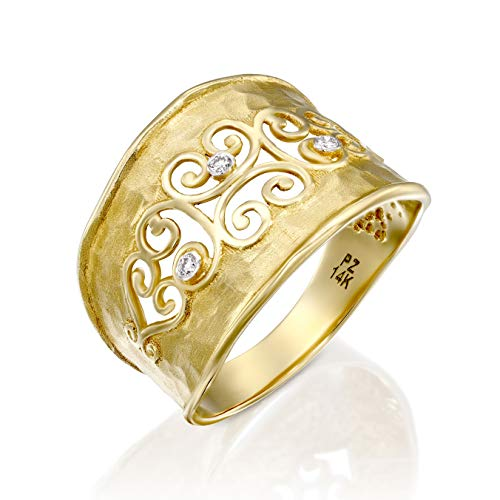 PZ Paz Creations 14k Gold Filigree Diamond Accent Ring with Hammered Matte Finish (8)