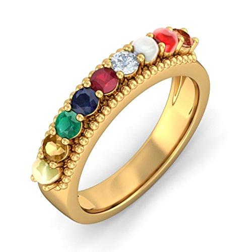 Or jaune 18K, 0.06CT TW Diamant Blanc (IJ | SI) Navaratna et diamant Bague