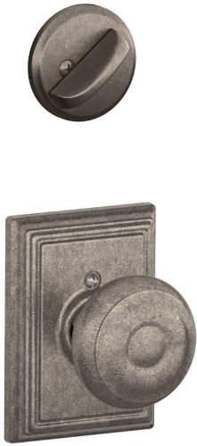Schlage Lock Company F94GEO621ADD Distressed Nickel Interior Pack Georgian Knob Dummy Interior Pack with Deadbolt Cover Plate and Decorative Addison Rose