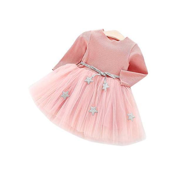 Tutu in maglia a maniche lunghe per neonato Abito in tulle con principessa infantile e gonna in misto cotone per bambini… 4