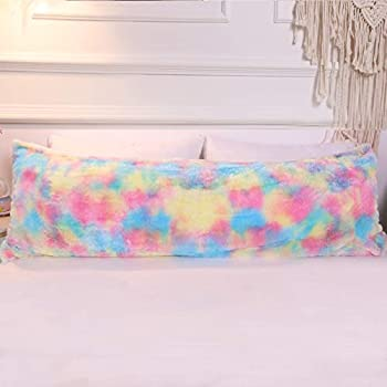 "Body Pillow Ruffled Solid Turquoise Cover Case Decorative 20/"" x 54/"" 2"