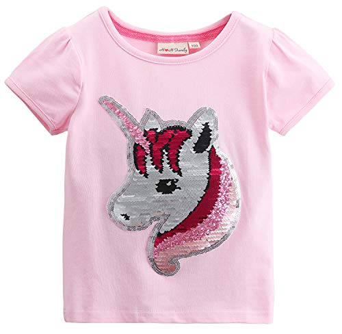 Flip Sequin Unicorn Shirt Top for Girls 3-12 Years (10, Fairy Pink Short)]()