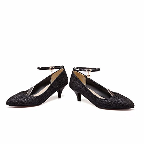 RFF-Women's Shoes Damen Pumps/Geschlossene Ballerinas/Riemchenpumps/Grosse Schnalle Riemen Hingewiesen, die Schuhe, die Ferse Frau Schuhe black