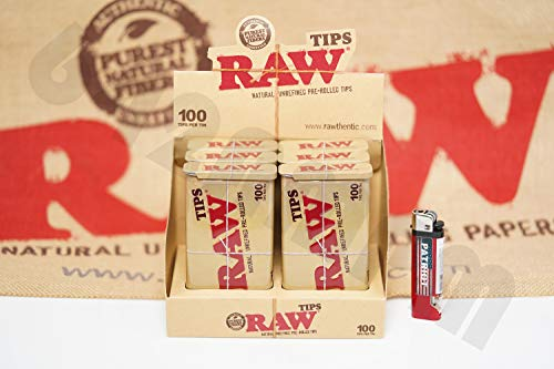 Six Tin - Bundle - 2 Items - Full Box 6 Tins(100 Tips Per Tin) Of AUTHENTIC Raw Rolling Paper Pre-Rolled Tips And Patriot Lighter