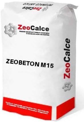 ZEOCALCE sacco da 25kg Betoncino strutturale fibro rinforzato a base di calce aerea e pozzolana e leganti cementizi per consolidamenti su muratura e calcestruzzo armato ZEOBETON M15