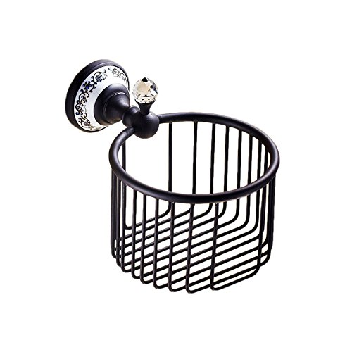 OWOFAN Toilet Paper Basket Shower Storage Holder Bathroom Shelf Wall Mounted Ceramics Deco Brass Black WF-6313R by OWOFAN