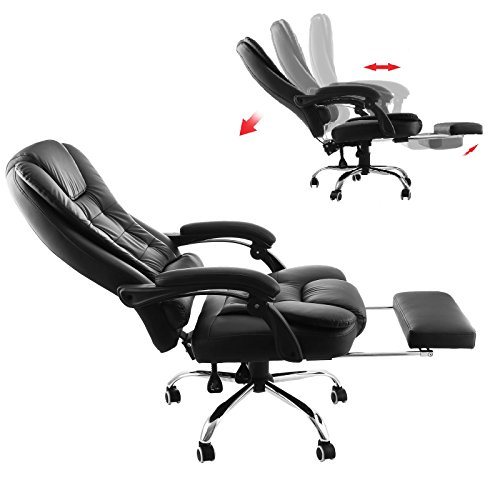 Superland Executive Reclining Office Chair 360 Degree Swivel Ergonomic High Back Executive Chair with Foot Stool Cherry Leather Recliner