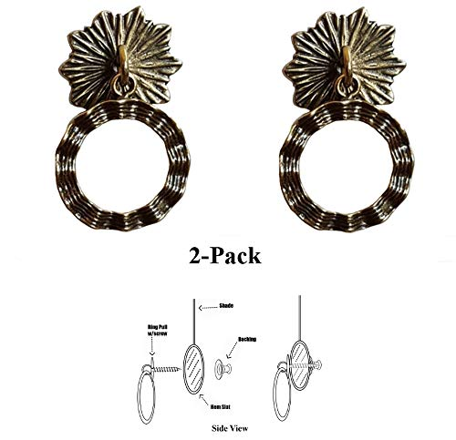 Shade Doctor of Maine – Designer Series Roller Shade Ring PULLS – Antique Brass Wavy Ribbon 2-Pack