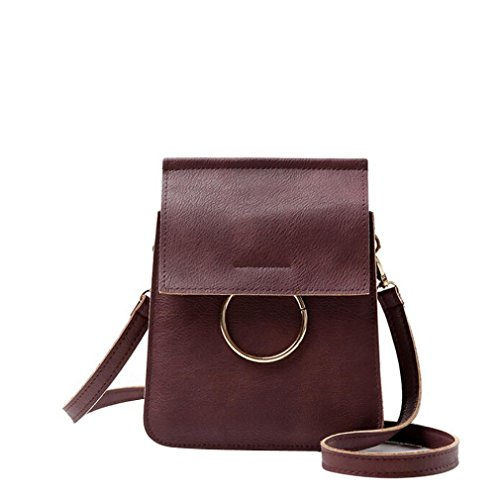 (Euone Fashion Zero Purse Bag Leather Handbag Single Shoulder Messenger Phone Bag (Wine))