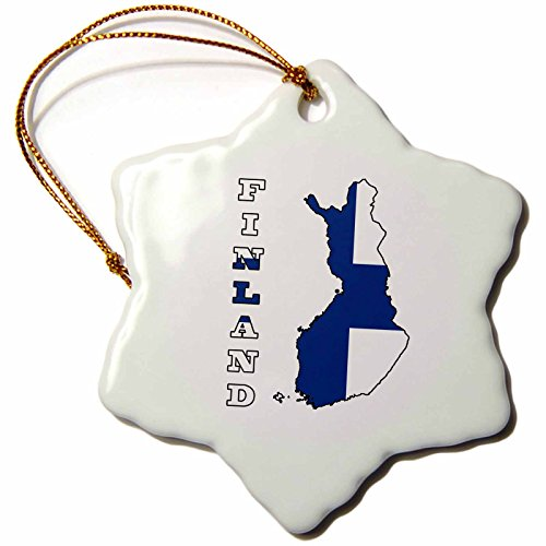 - 3dRose orn_58800_1 The Flag of Finland in The Outline Map of The Country and Name Finland Snowflake Decorative Hanging Ornament, Porcelain, 3-Inch