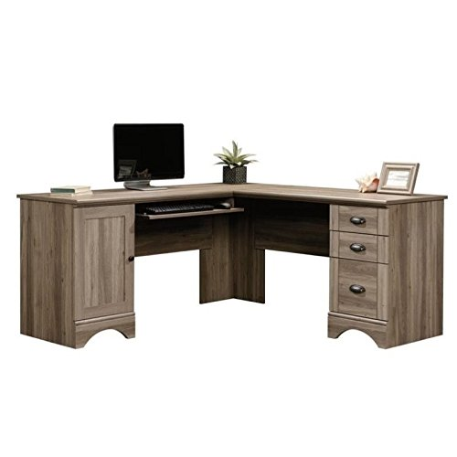 (Pemberly Row L Shaped Computer Desk with CPU Tower Storage, Letter/Legal File Drawer, and Keyboard Tray in Salt Oak )