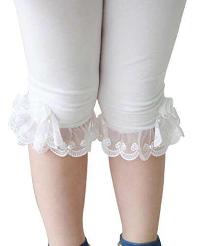 Little Girls Solid Color Cotton Legging with Lace Trim Bead Flowers, White, 3T
