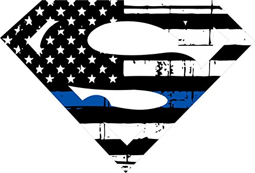 Thin Blue Line- Tattered Superman Style Blue Line Decal Vinyl Sticker 4