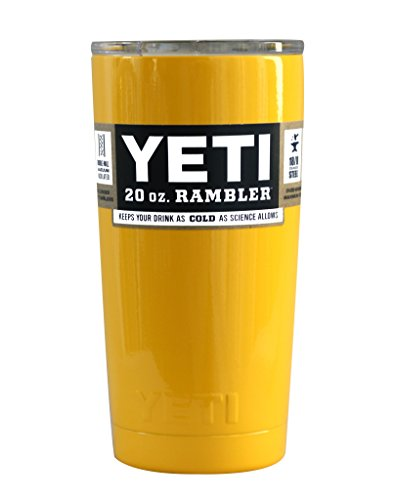 YETI Coolers Custom Powder Coated Insulated Stainless Steel 20 Ounce (20 oz) (20oz) Rambler Tumbler with Lid (Yellow)
