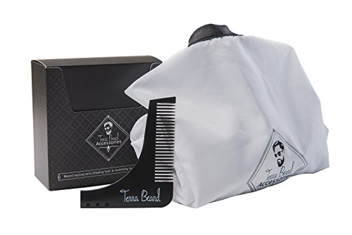 After Christmas Amazing Sale Perfect Gift Beard Styling Accessories and Shaping Tool for Bearded Men Comb Template and Apron Beard Bib Shaving Cape for Perfect Lines and Symmetry -3Y Warranty