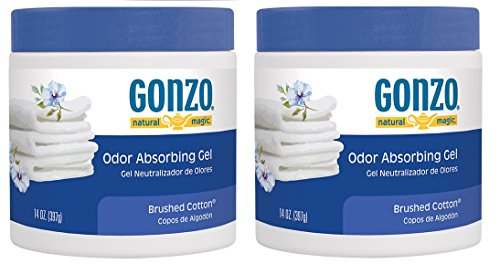 Gonzo Odor Absorbing Gel - 2 Pack - Odor Eliminator for Car Closet Bathroom and Pet Area, Captures and Absorbs Smoke Mold and Other Odors - 14 Ounce