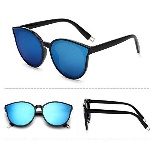 lunettes de soleil les pop stars lunettes nouveau cycle des lunettes de soleil mesdames élégant visage rond korean les yeux boîte noire film bleu (sac)