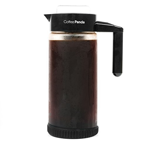 Coffee Panda Cold Brew Coffee Maker - 1.3L / 44oz Store Glass Pitcher with Easy To Clean Fine Mesh Filter and No-Slip Base - Free Iced Coffee Recipe E-Book